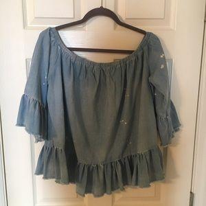 Denim paint splattered blouse, large